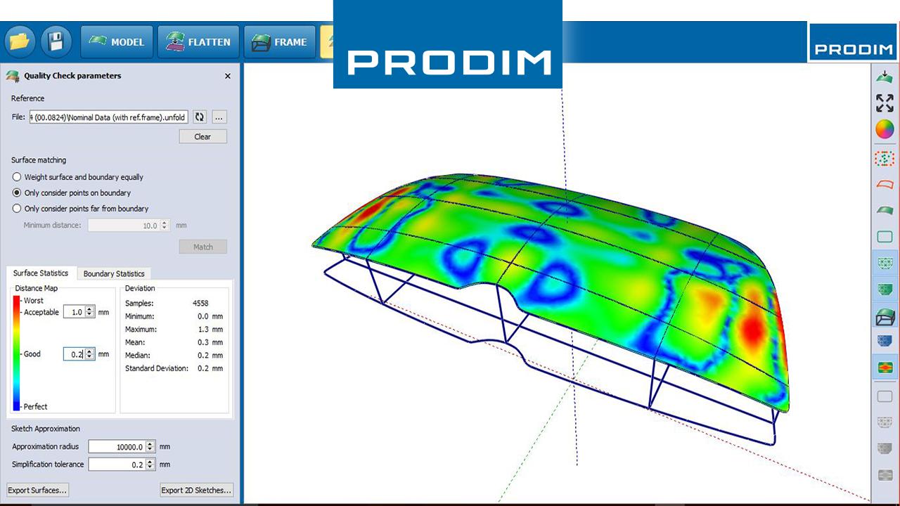 Prodim полные решение оцифровки шаблонов - на основе приложений индустрии программного обеспечения - Скриншот программное обеспечение Prodim Гнутое Стекло