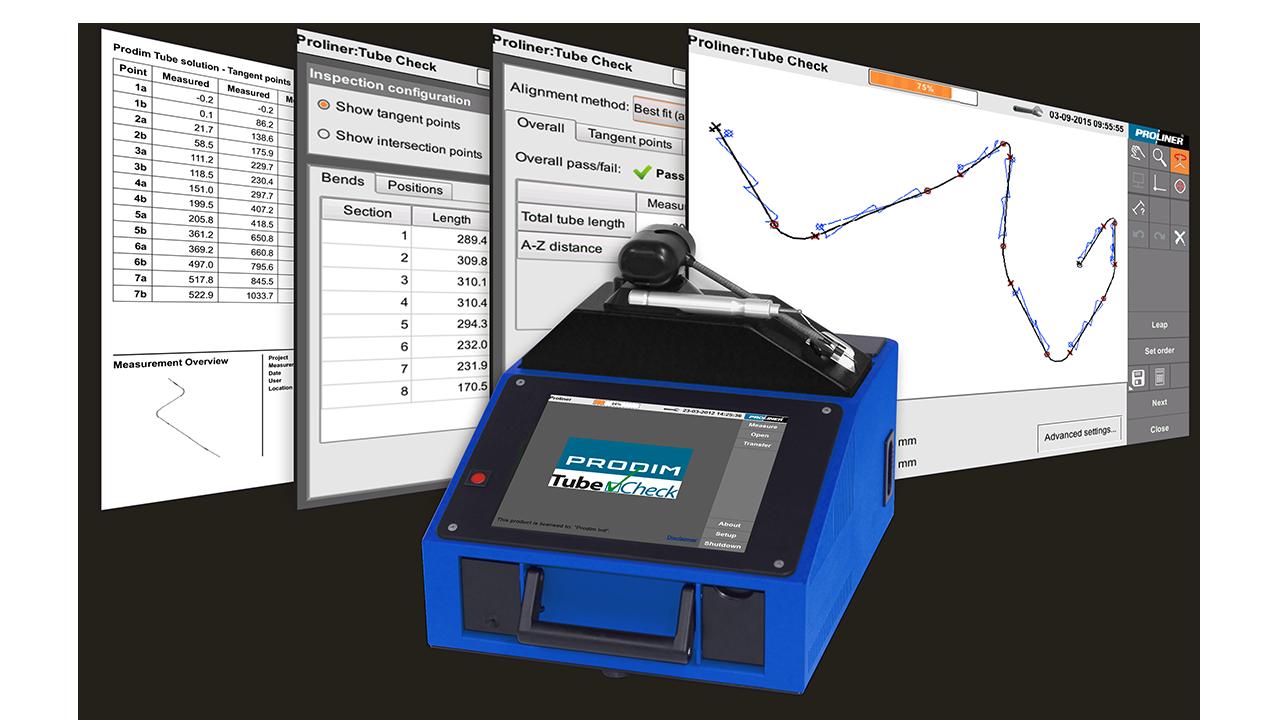 Скриншоты Prodim программное обеспечение TubeCheck и образ Proliner 10IS
