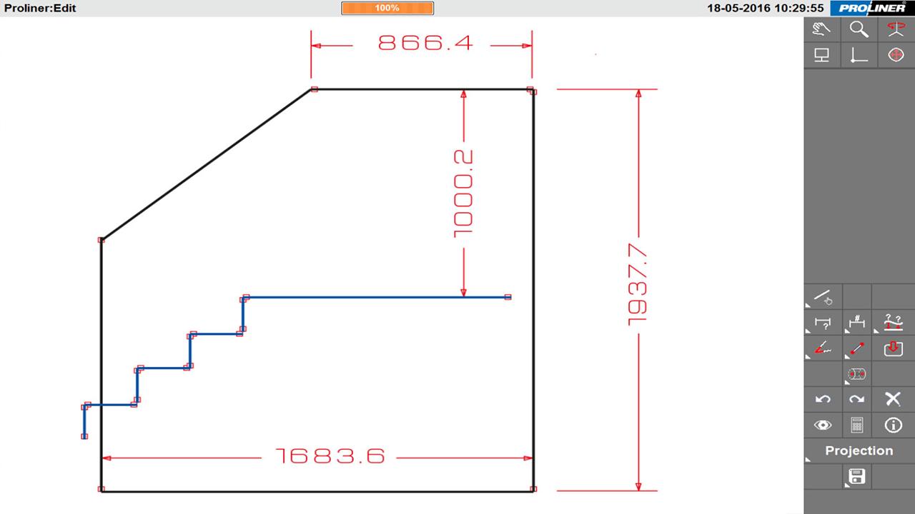 Prodim решения промышленности архитектурного стекла - Балюстрада - оцифровка шаблонов